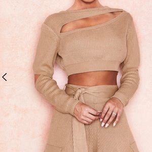 HouseofCB NWT sand cropped sweater - women's XS